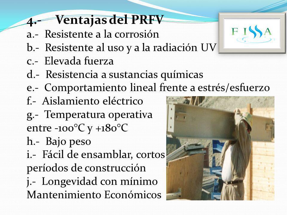 4.- Ventajas del PRFV a.- Resistente a la corrosión