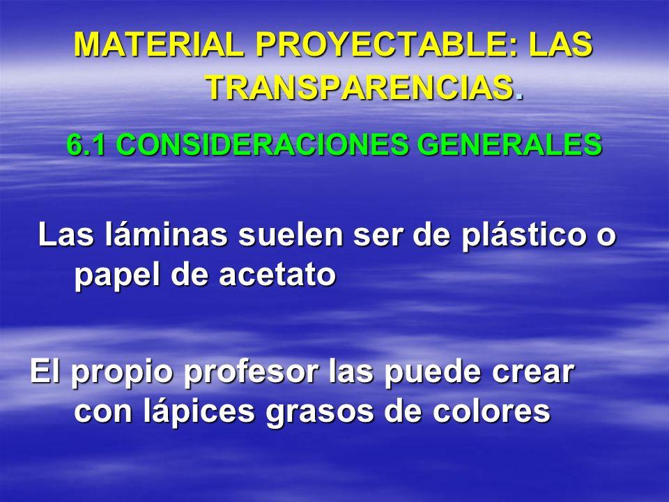 MATERIAL PROYECTABLE: LAS TRANSPARENCIAS.