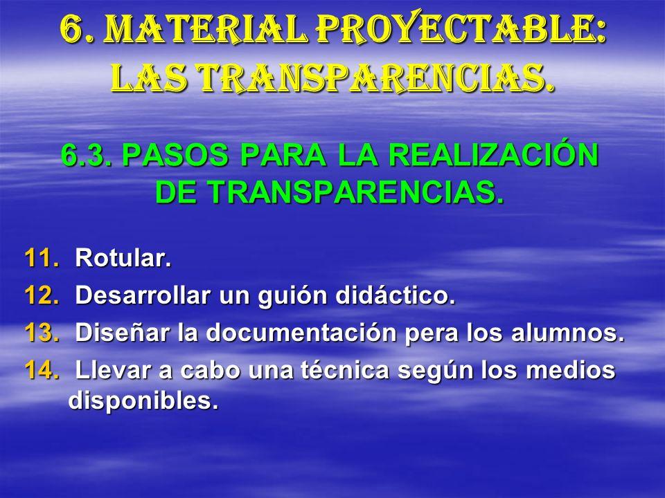 6.3. PASOS PARA LA REALIZACIÓN DE TRANSPARENCIAS.