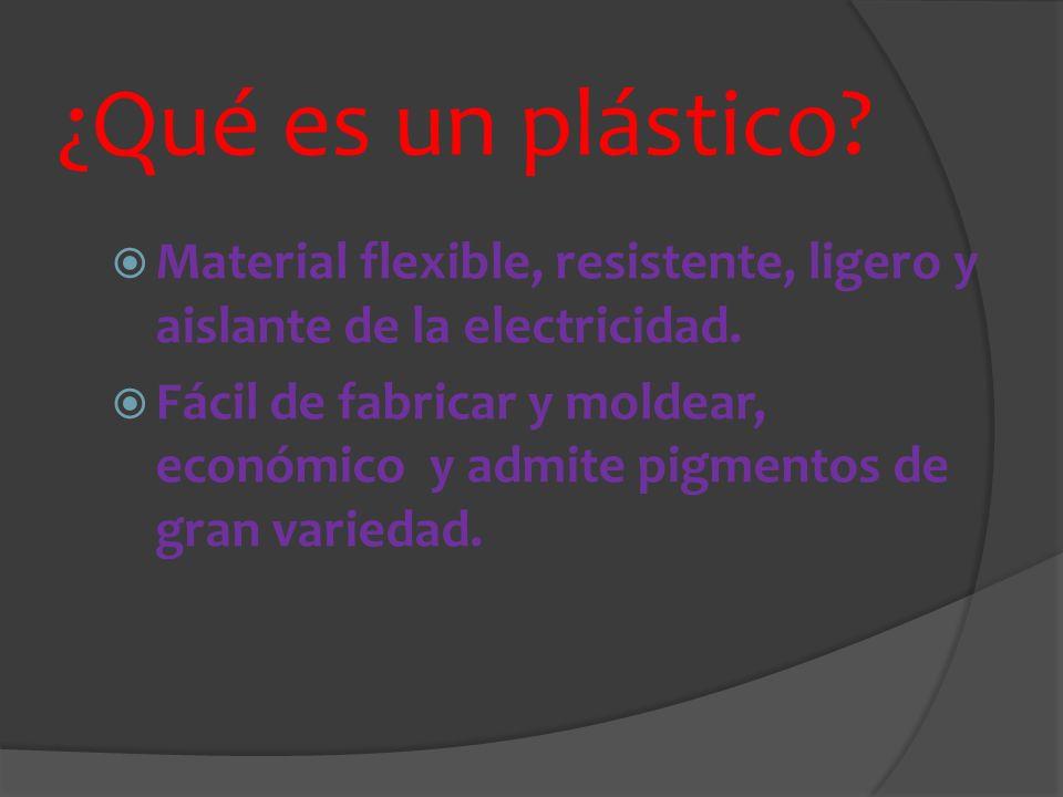 ¿Qué es un plástico Material flexible, resistente, ligero y aislante de la electricidad.