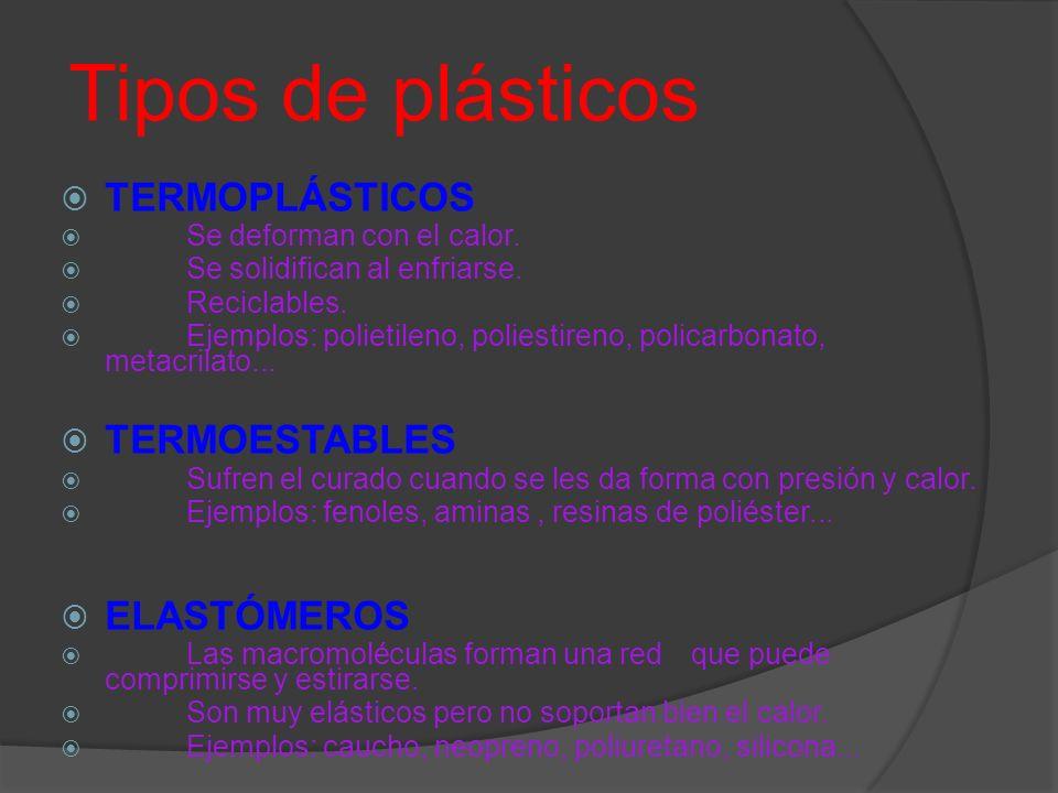 Tipos de plásticos TERMOPLÁSTICOS TERMOESTABLES ELASTÓMEROS