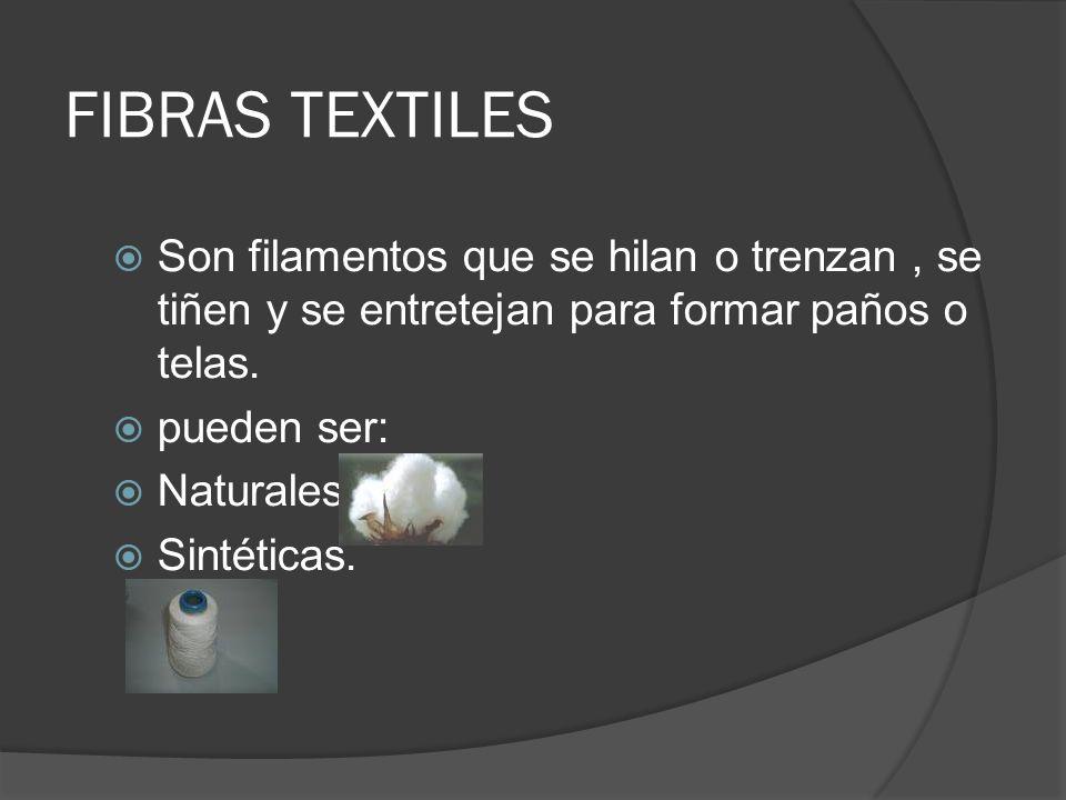 FIBRAS TEXTILES Son filamentos que se hilan o trenzan , se tiñen y se entretejan para formar paños o telas.