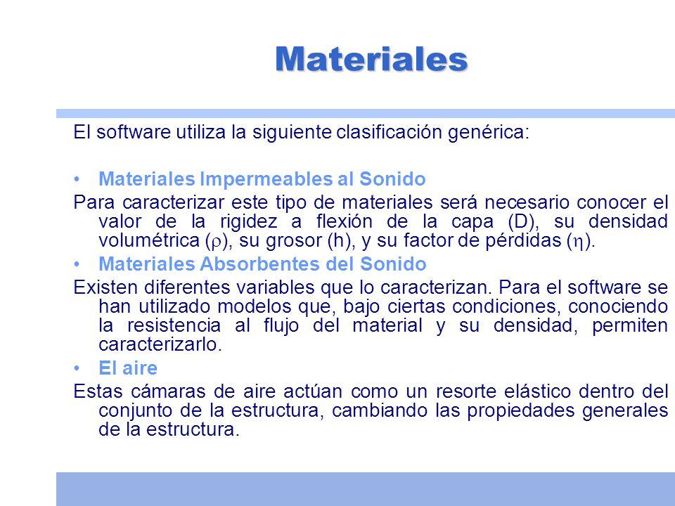 Materiales El software utiliza la siguiente clasificación genérica: