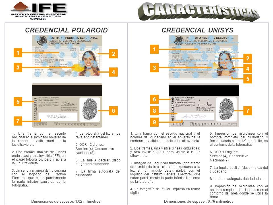 CARACTERÍSTICAS CREDENCIAL POLAROID CREDENCIAL UNISYS 1 2 3 4 5 6 8 7