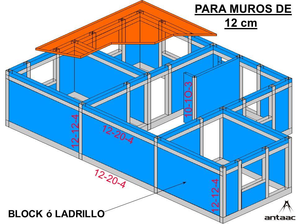 PARA MUROS DE 12 cm 10-1O-3 12-12-4 12-20-4 12-20-4 12-12-4