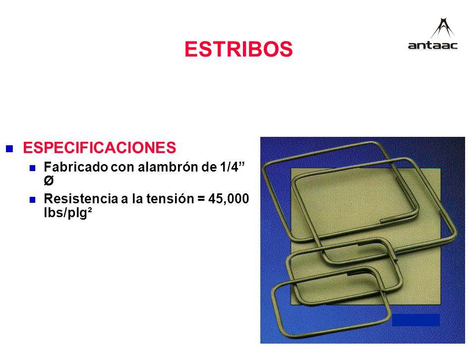 ESTRIBOS ESPECIFICACIONES Fabricado con alambrón de 1/4 Ø