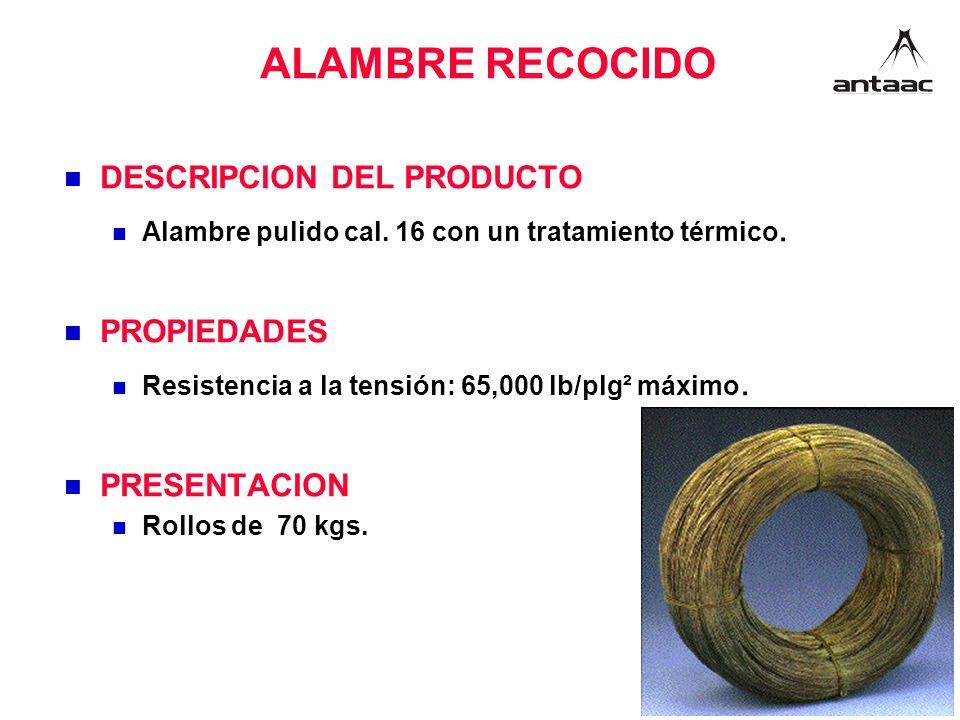 ALAMBRE RECOCIDO DESCRIPCION DEL PRODUCTO PROPIEDADES PRESENTACION