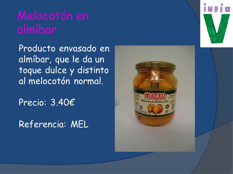 Melocotón en almíbar Producto envasado en almíbar, que le da un toque dulce y distinto al melocotón normal.