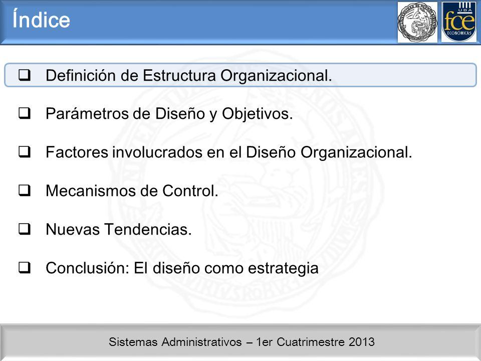 Índice Definición de Estructura Organizacional.