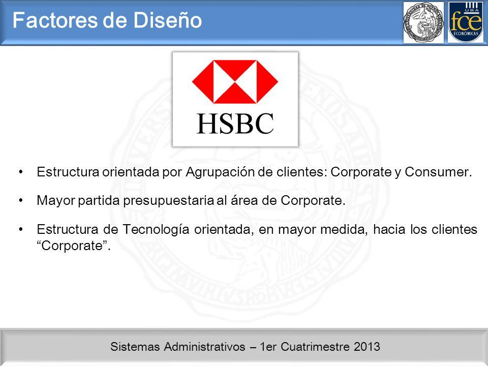 Factores de Diseño Estructura orientada por Agrupación de clientes: Corporate y Consumer. Mayor partida presupuestaria al área de Corporate.