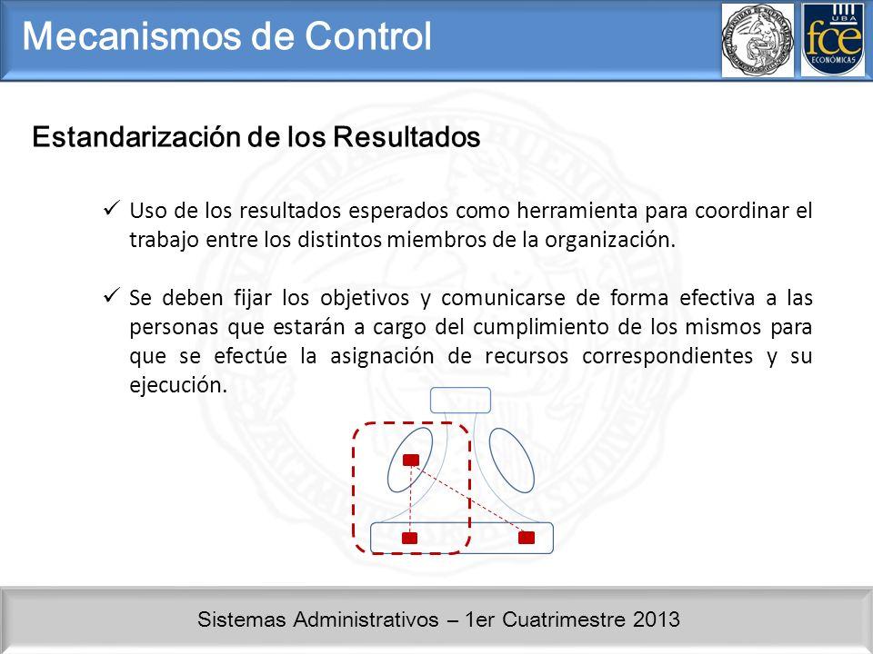 Mecanismos de Control Estandarización de los Resultados