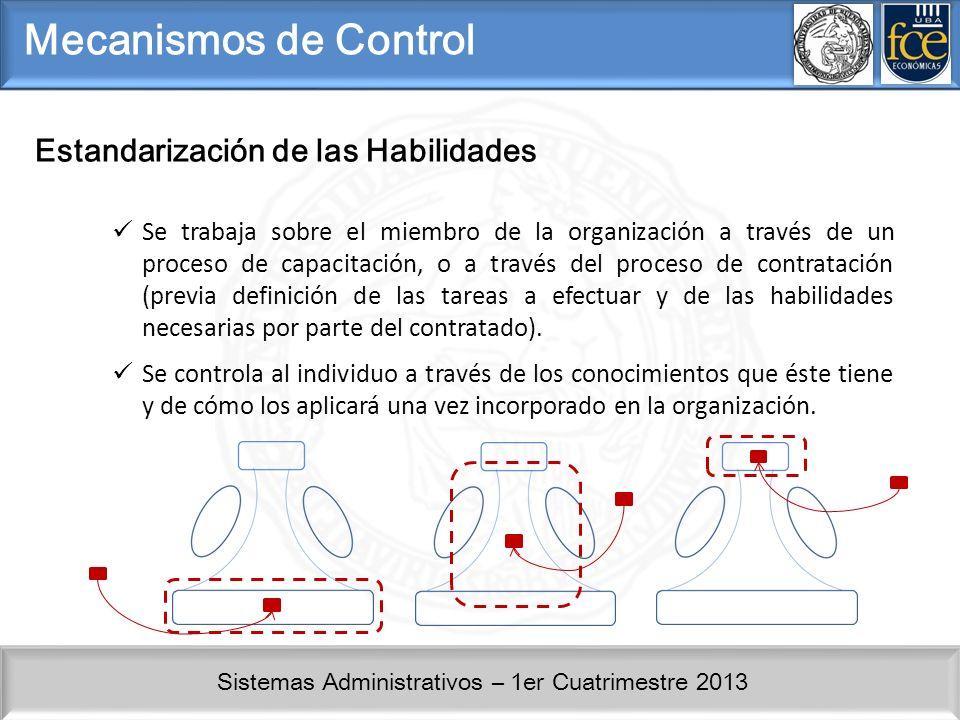 Mecanismos de Control Estandarización de las Habilidades