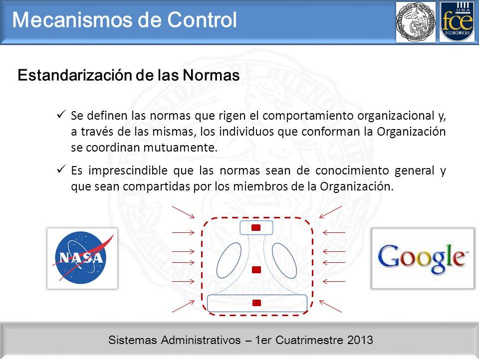 Mecanismos de Control Estandarización de las Normas