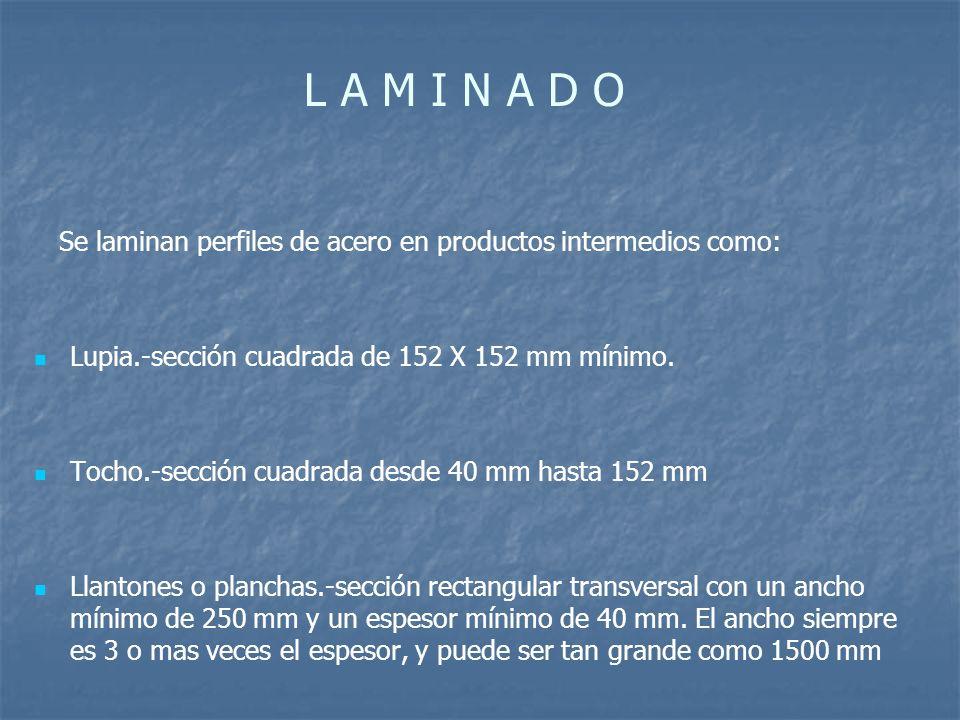 L A M I N A D O Se laminan perfiles de acero en productos intermedios como: Lupia.-sección cuadrada de 152 X 152 mm mínimo.