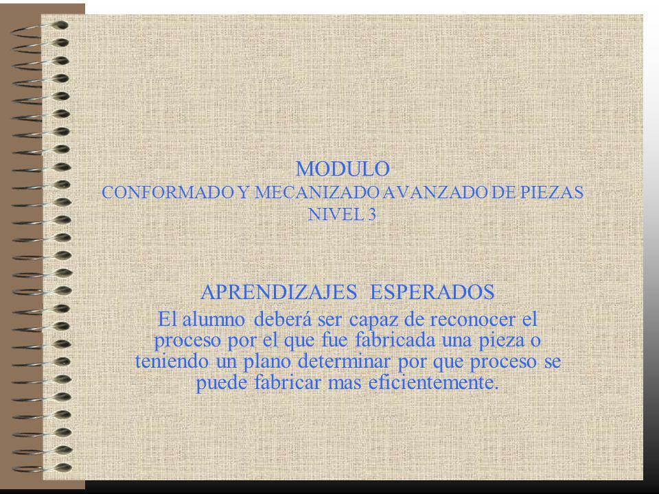MODULO CONFORMADO Y MECANIZADO AVANZADO DE PIEZAS NIVEL 3