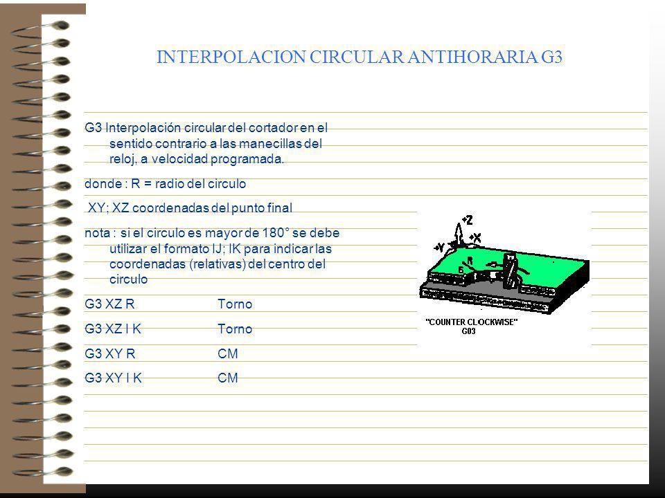 INTERPOLACION CIRCULAR ANTIHORARIA G3