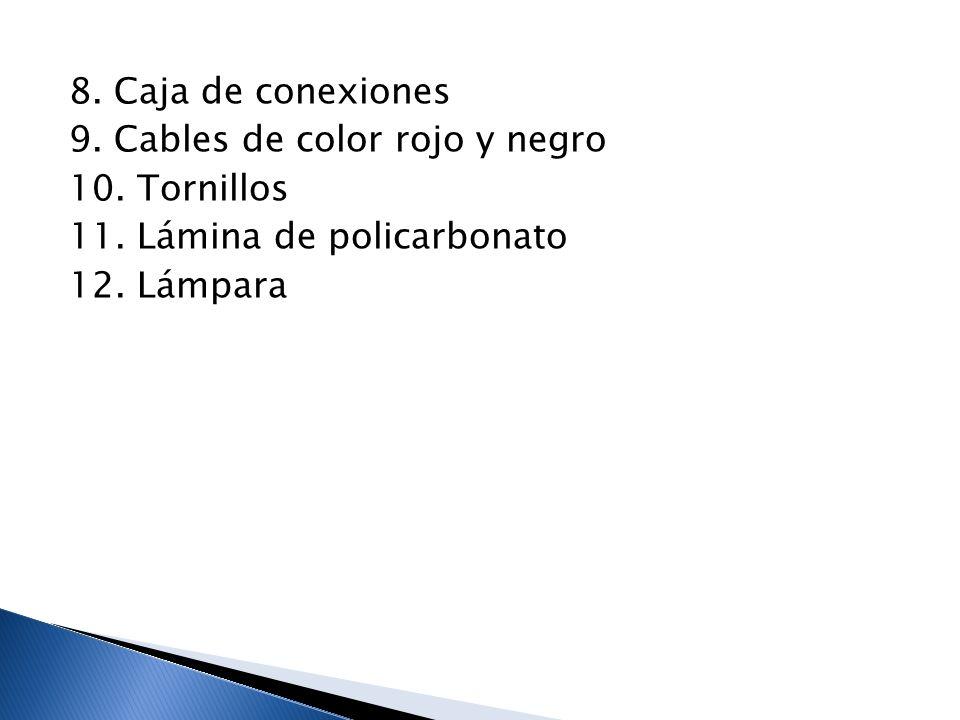 8. Caja de conexiones 9. Cables de color rojo y negro 10. Tornillos 11