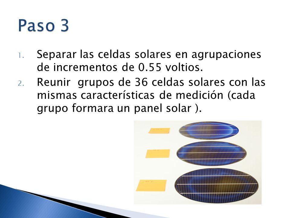Paso 3 Separar las celdas solares en agrupaciones de incrementos de 0.55 voltios.