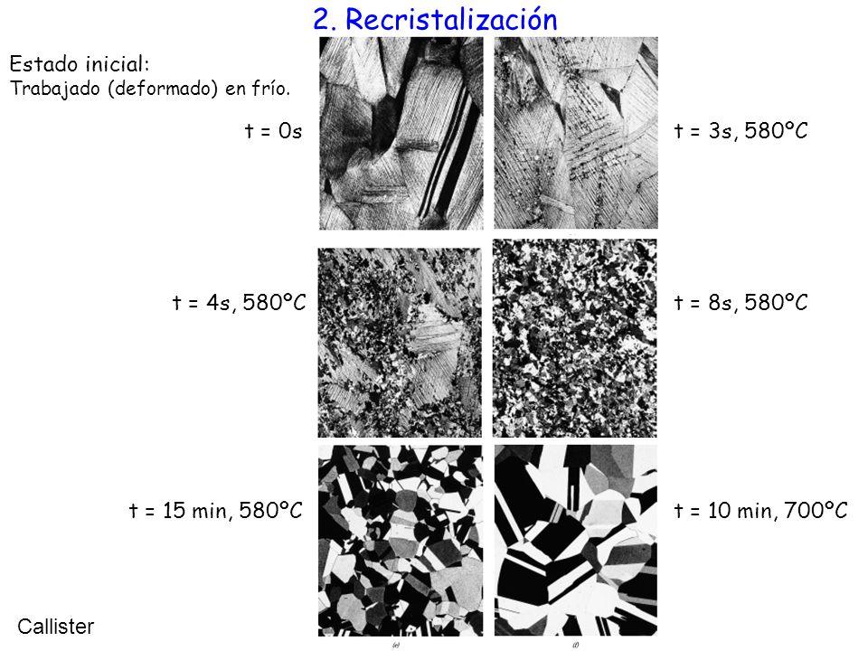 2. Recristalización Estado inicial: t = 0s t = 3s, 580ºC t = 4s, 580ºC