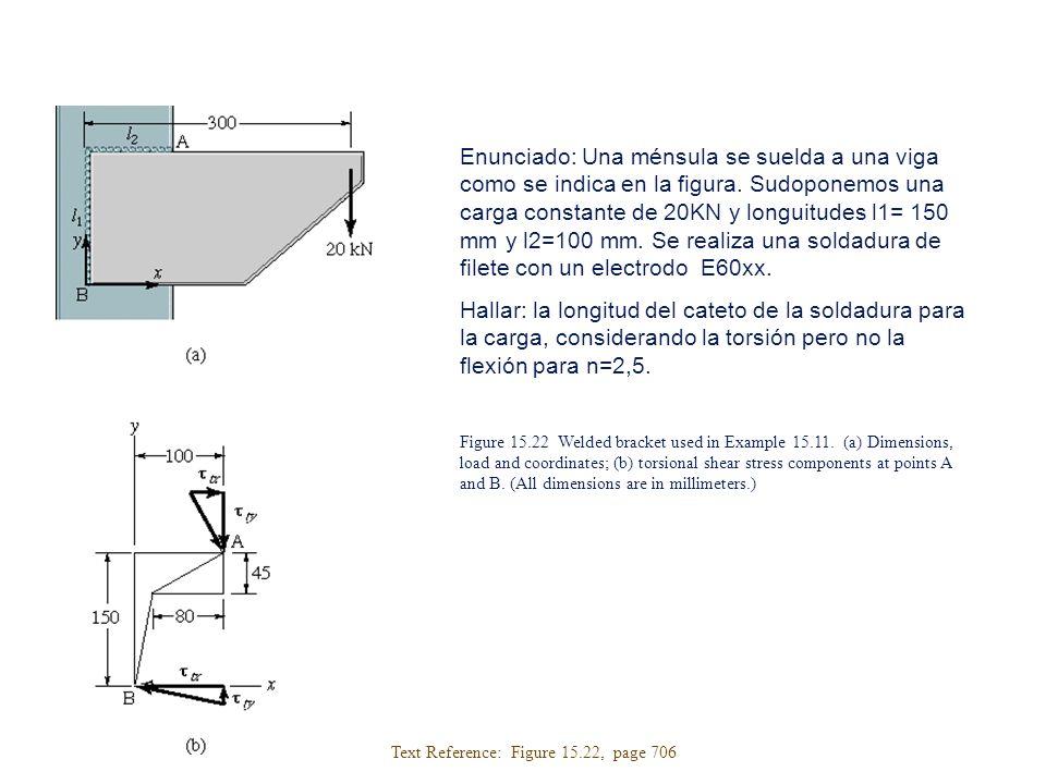 Enunciado: Una ménsula se suelda a una viga como se indica en la figura. Sudoponemos una carga constante de 20KN y longuitudes l1= 150 mm y l2=100 mm. Se realiza una soldadura de filete con un electrodo E60xx.
