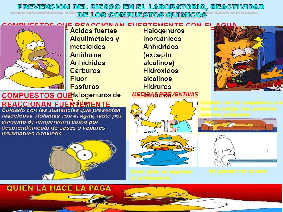 PREVENCION DEL RIESGO EN EL LABORATORIO, REACTIVIDAD