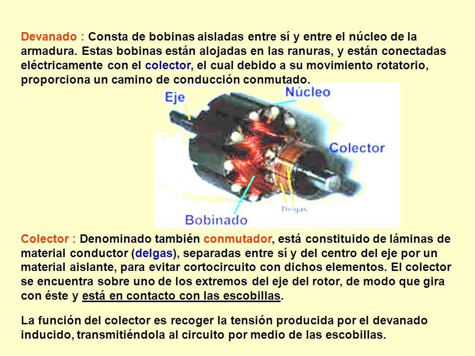 Devanado : Consta de bobinas aisladas entre sí y entre el núcleo de la armadura. Estas bobinas están alojadas en las ranuras, y están conectadas eléctricamente con el colector, el cual debido a su movimiento rotatorio, proporciona un camino de conducción conmutado.