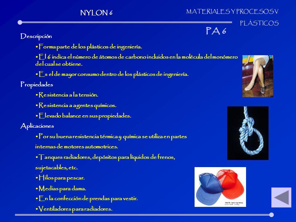 PA 6 NYLON 6 Descripción Forma parte de los plásticos de ingeniería.