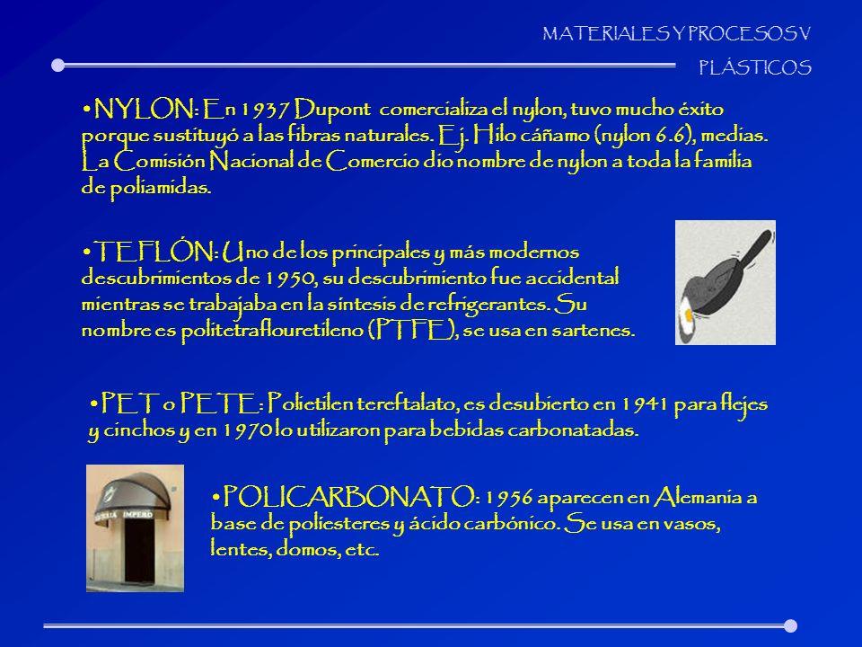 NYLON: En 1937 Dupont comercializa el nylon, tuvo mucho éxito porque sustituyó a las fibras naturales. Ej. Hilo cáñamo (nylon 6.6), medias. La Comisión Nacional de Comercio dio nombre de nylon a toda la familia de poliamidas.