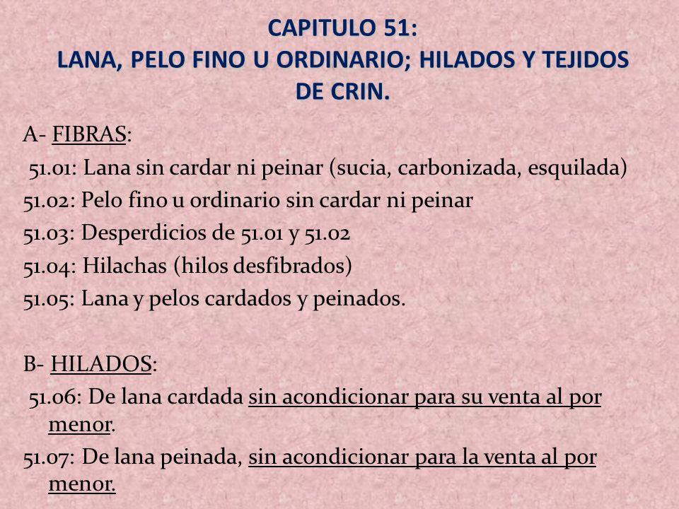 CAPITULO 51: LANA, PELO FINO U ORDINARIO; HILADOS Y TEJIDOS DE CRIN.