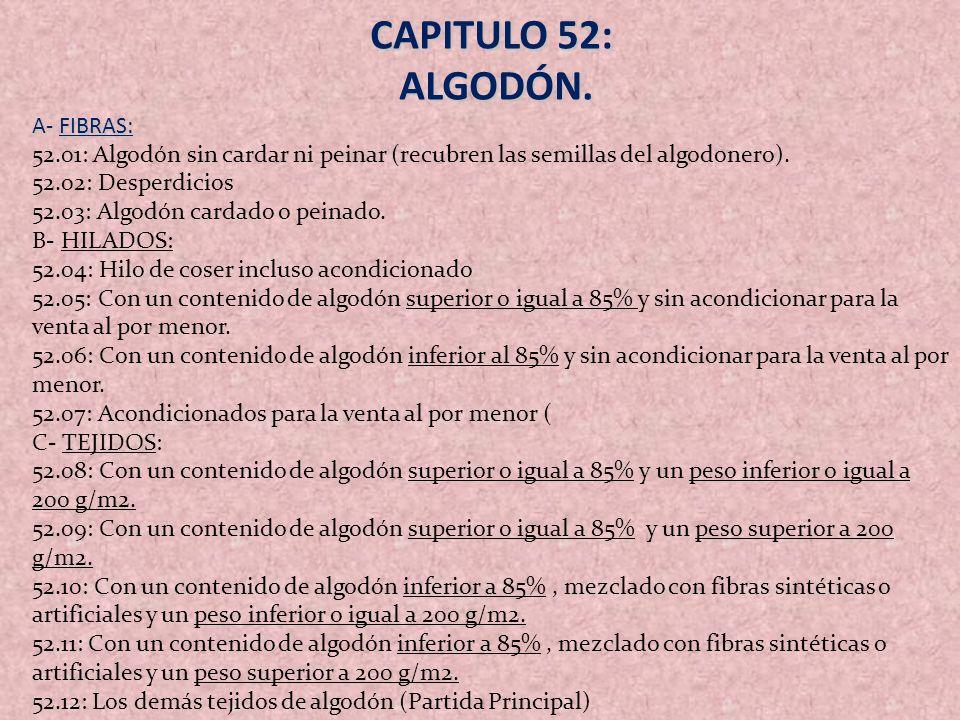 CAPITULO 52: ALGODÓN. A- FIBRAS: