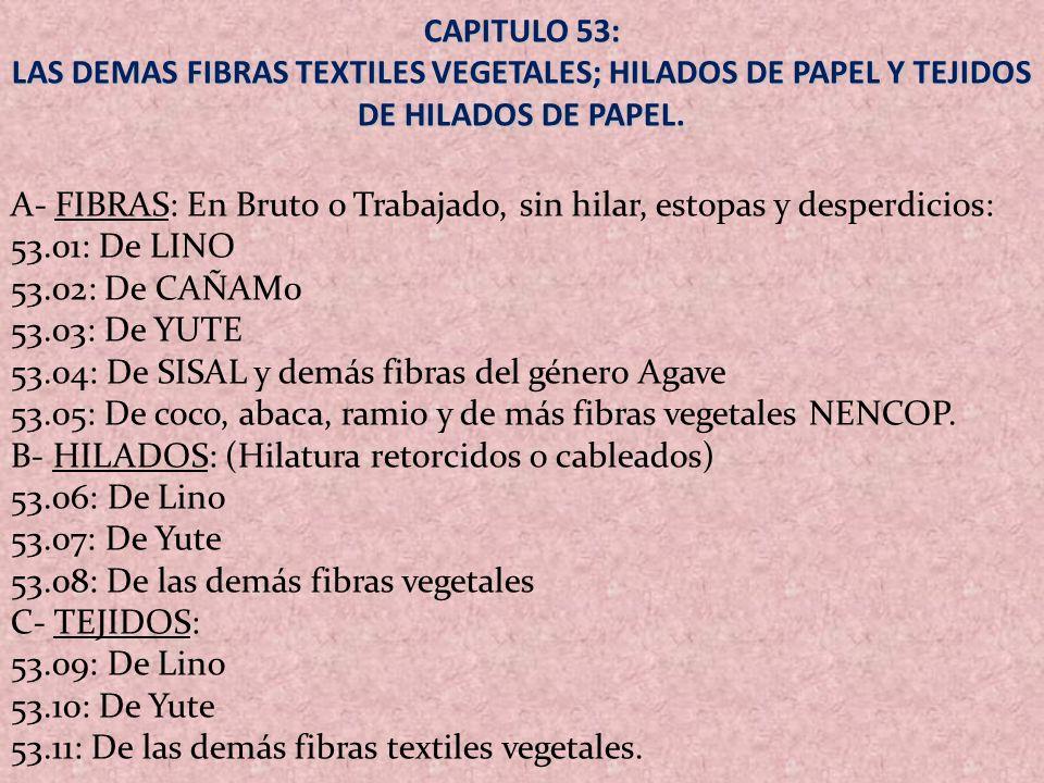 CAPITULO 53: LAS DEMAS FIBRAS TEXTILES VEGETALES; HILADOS DE PAPEL Y TEJIDOS DE HILADOS DE PAPEL.