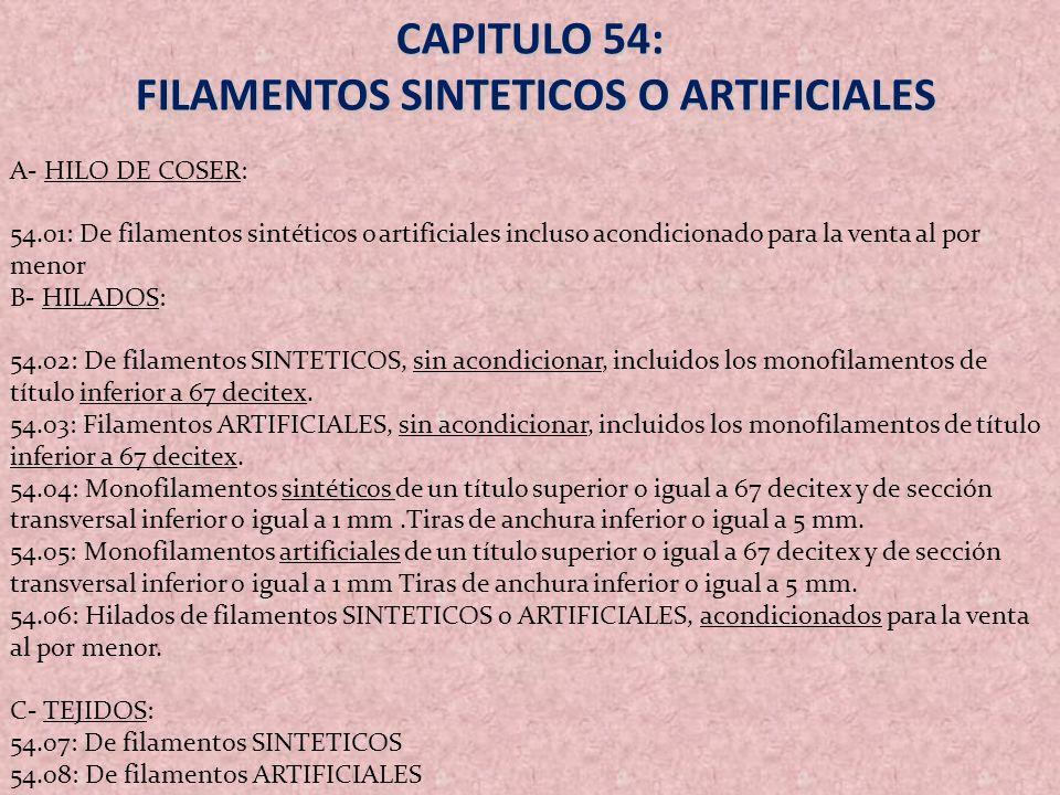 FILAMENTOS SINTETICOS O ARTIFICIALES