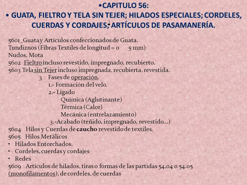 CAPITULO 56: GUATA, FIELTRO Y TELA SIN TEJER; HILADOS ESPECIALES; CORDELES, CUERDAS Y CORDAJES; ARTÍCULOS DE PASAMANERÍA.
