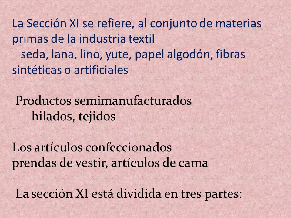 La Sección XI se refiere, al conjunto de materias primas de la industria textil
