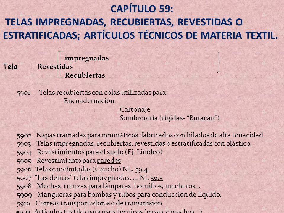 CAPÍTULO 59: TELAS IMPREGNADAS, RECUBIERTAS, REVESTIDAS O ESTRATIFICADAS; ARTÍCULOS TÉCNICOS DE MATERIA TEXTIL.