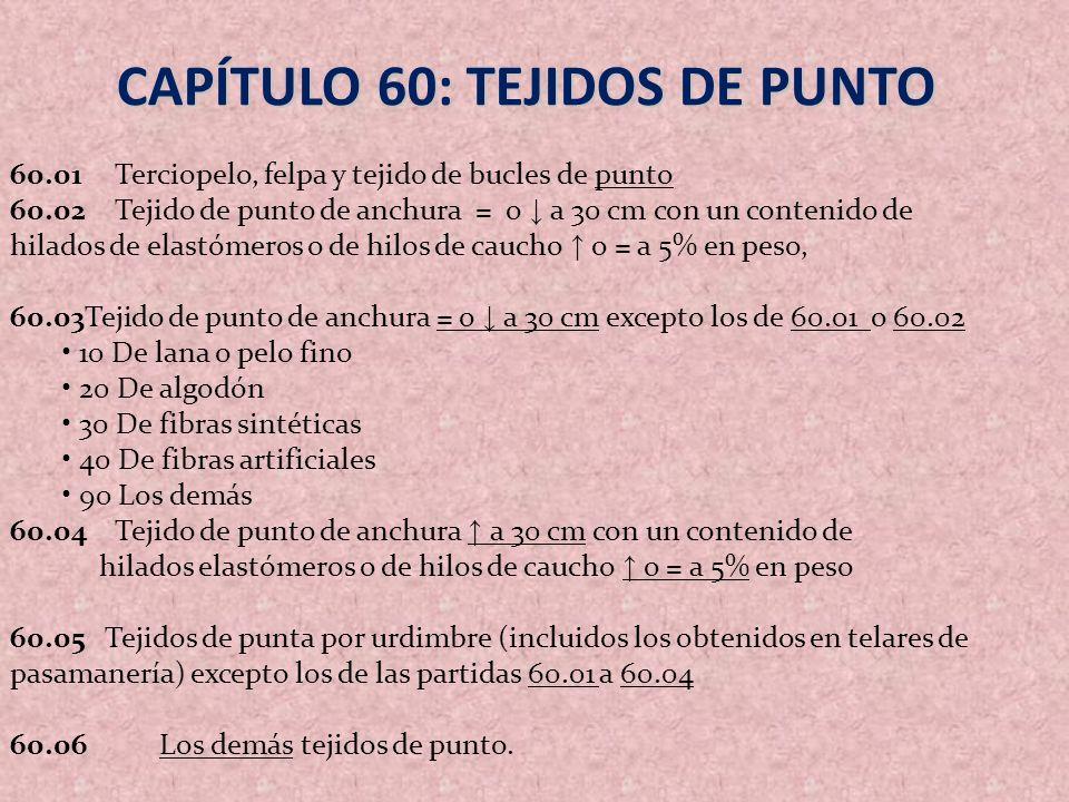 CAPÍTULO 60: TEJIDOS DE PUNTO