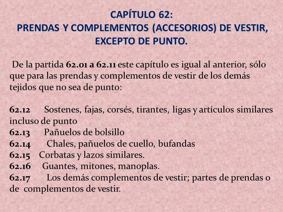 PRENDAS Y COMPLEMENTOS (ACCESORIOS) DE VESTIR, EXCEPTO DE PUNTO.