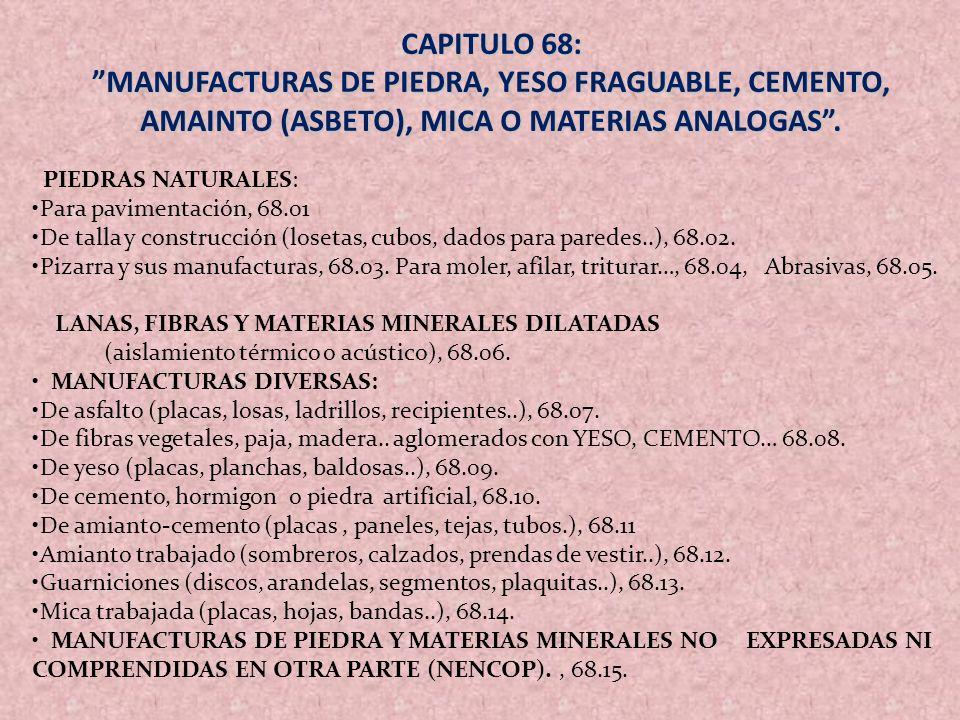 CAPITULO 68: MANUFACTURAS DE PIEDRA, YESO FRAGUABLE, CEMENTO, AMAINTO (ASBETO), MICA O MATERIAS ANALOGAS .