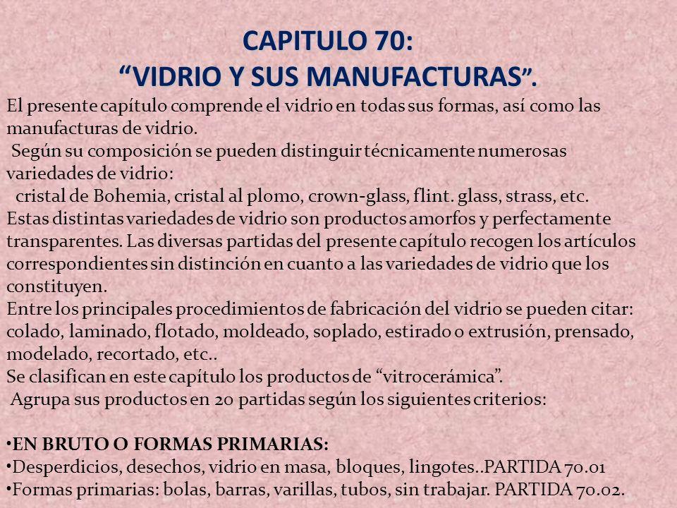 VIDRIO Y SUS MANUFACTURAS .