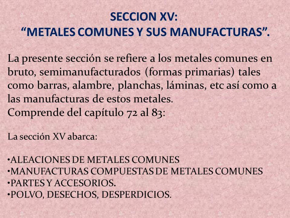 METALES COMUNES Y SUS MANUFACTURAS .