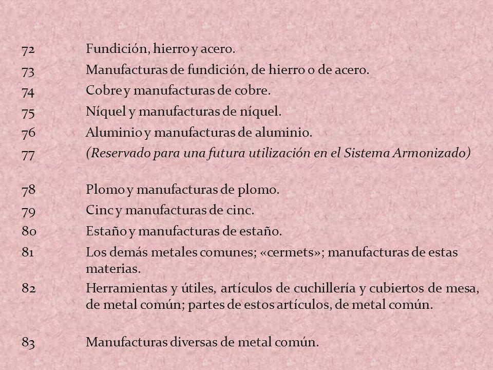72 Fundición, hierro y acero. 73. Manufacturas de fundición, de hierro o de acero. 74. Cobre y manufacturas de cobre.
