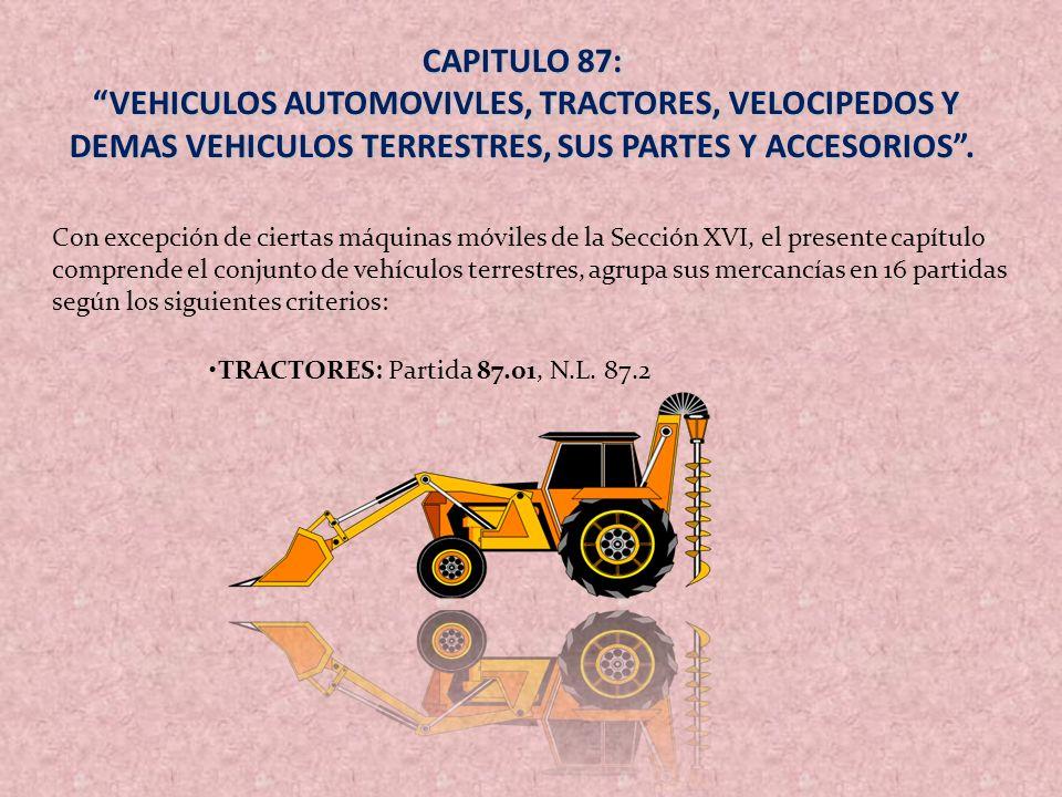 CAPITULO 87: VEHICULOS AUTOMOVIVLES, TRACTORES, VELOCIPEDOS Y DEMAS VEHICULOS TERRESTRES, SUS PARTES Y ACCESORIOS .
