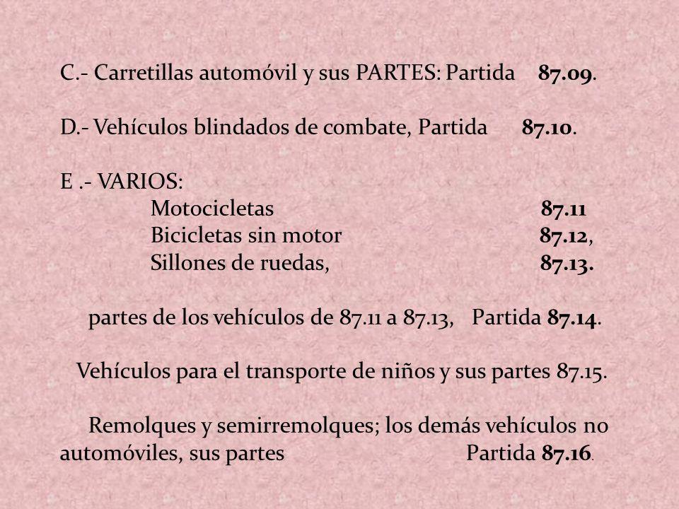 C.- Carretillas automóvil y sus PARTES: Partida 87.09.