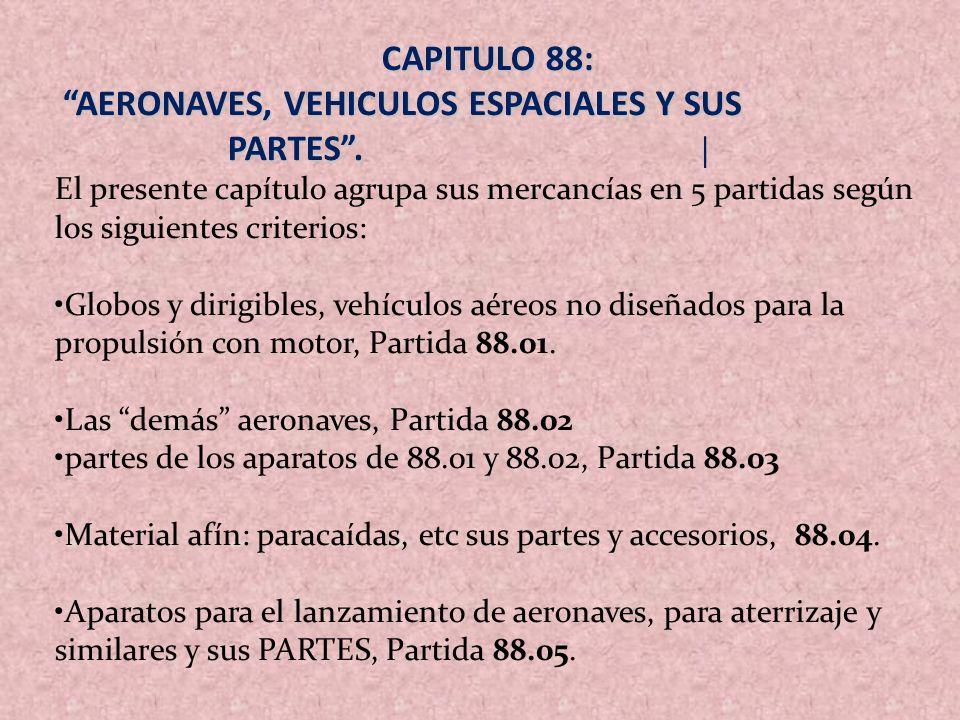 AERONAVES, VEHICULOS ESPACIALES Y SUS PARTES . |