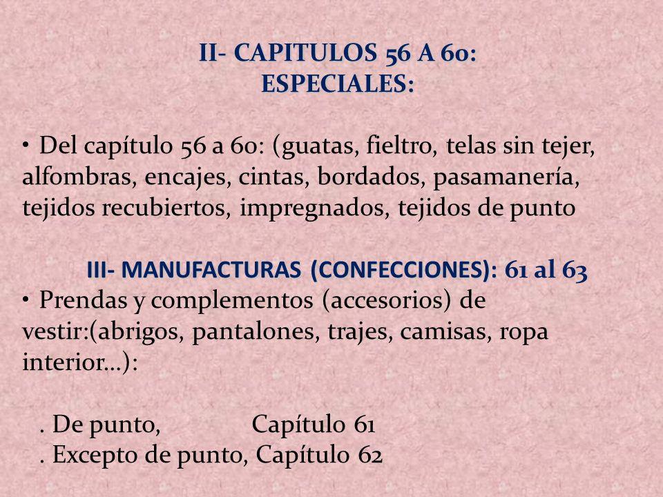 III- MANUFACTURAS (CONFECCIONES): 61 al 63
