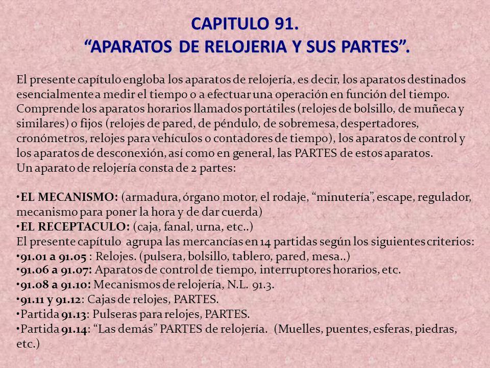 APARATOS DE RELOJERIA Y SUS PARTES .