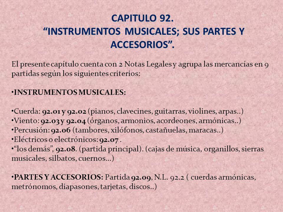 INSTRUMENTOS MUSICALES; SUS PARTES Y ACCESORIOS .