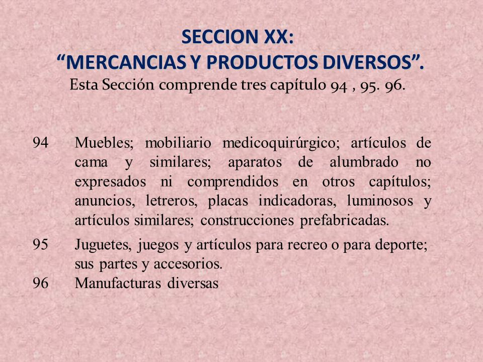 MERCANCIAS Y PRODUCTOS DIVERSOS .