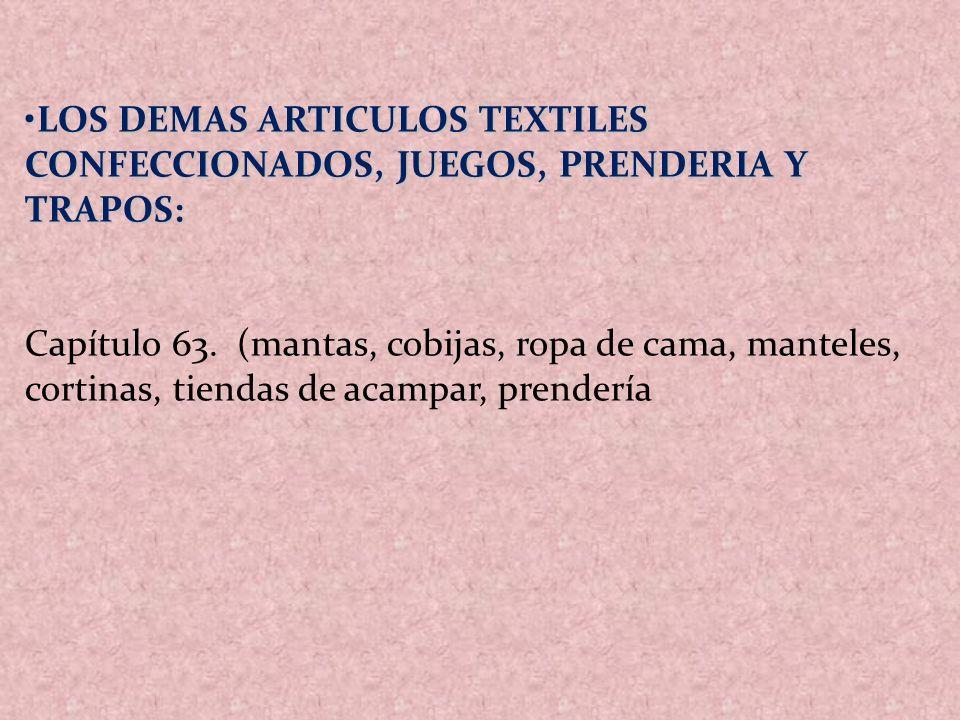 LOS DEMAS ARTICULOS TEXTILES CONFECCIONADOS, JUEGOS, PRENDERIA Y TRAPOS: