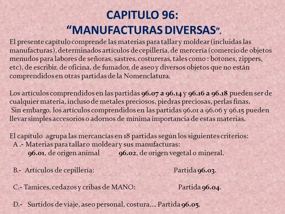 MANUFACTURAS DIVERSAS .